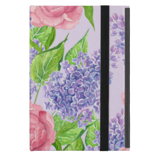 Capa iPad Mini Peônias e lilacs da aguarela