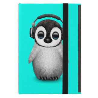 Capa iPad Mini Pinguim bonito DJ do bebê que veste fones de