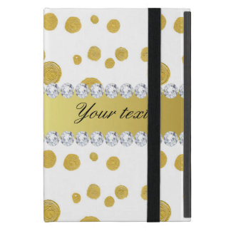 Capa iPad Mini Pintura e diamantes de óleo do ouro das bolinhas