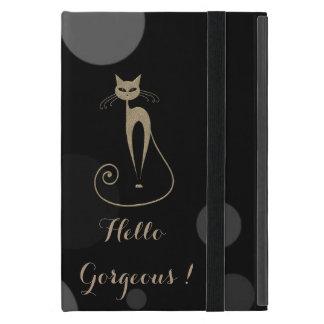 Capa iPad Mini Pontos cinzentos no fundo preto, gato, olá! lindo
