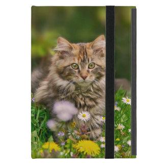 Capa iPad Mini Prado bonito da flor do gato do gatinho do racum