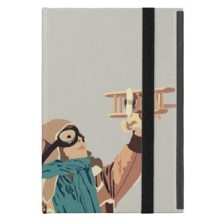 Capa iPad Mini Rapariga com a caixa plana de madeira da tabuleta