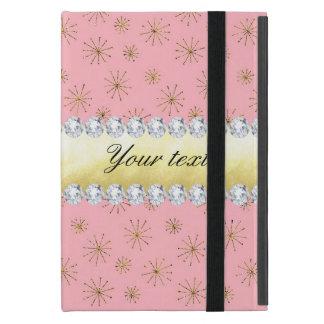 Capa iPad Mini Rosa chique dos flocos de neve do brilho do ouro