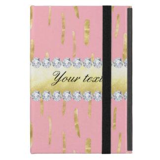 Capa iPad Mini Rosa dos cursos e dos diamantes da pintura do ouro