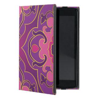 Capa iPad Mini Rosa retro, roxo, quente, ouro, floral, vintage,