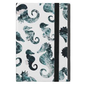 Capa iPad Mini Teste padrão abstrato dos cavalos marinhos do aqua