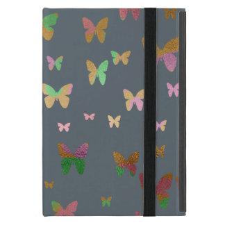 Capa iPad Mini teste padrão de borboleta cor-de-rosa do ouro do