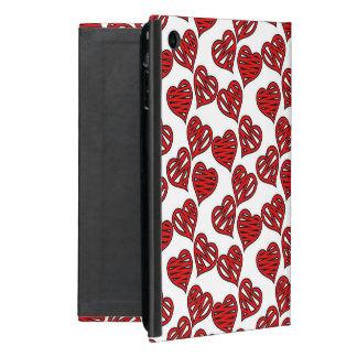 Capa iPad Mini Teste padrão esboçado dos corações do divertimento
