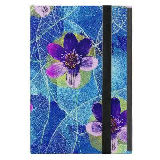 Capa iPad Mini Teste padrão floral artística roxo e azul bonito