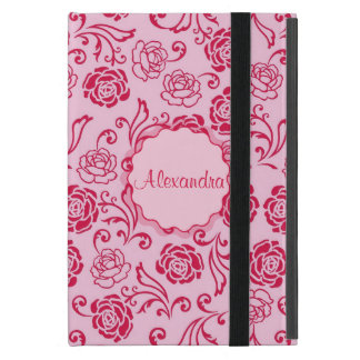 Capa iPad Mini Teste padrão floral da estrutura de rosas de chá