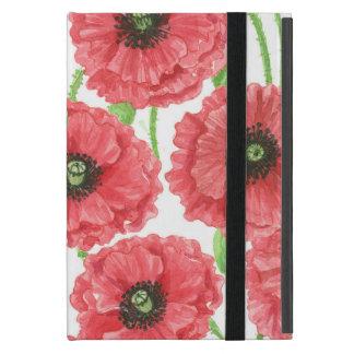 Capa iPad Mini Teste padrão floral das papoilas da aguarela