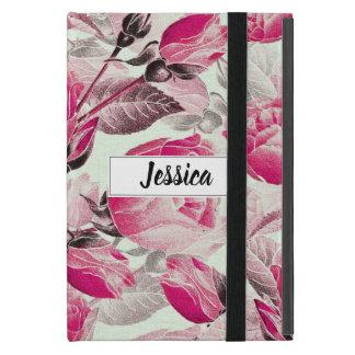 Capa iPad Mini Teste padrão floral dos rosas do rosa Monogrammed