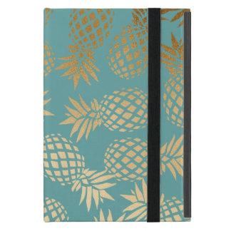 Capa iPad Mini teste padrão tropical do abacaxi do ouro elegante