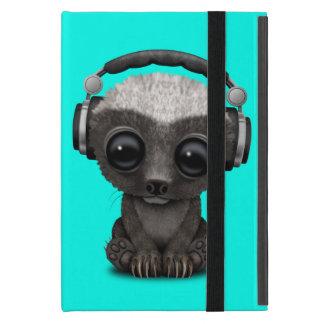 Capa iPad Mini Texugo de mel bonito DJ do bebê que veste fones de