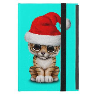 Capa iPad Mini Tigre Cub bonito que veste um chapéu do papai noel