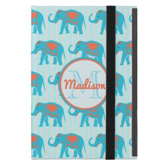 Capa iPad Mini Turquesa da cerceta, elefantes azuis, nome das
