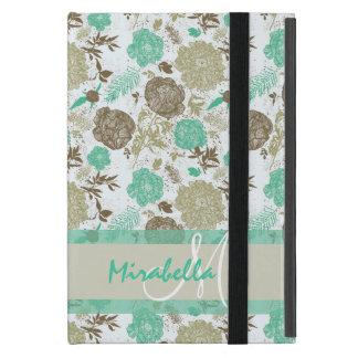 Capa iPad Mini Verde pastel luxúria da hortelã, rosas bege no