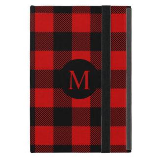 Capa iPad Mini Xadrez vermelha rústica do búfalo com monograma