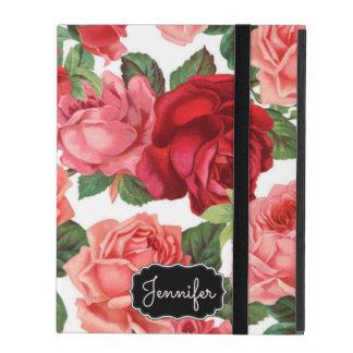 Capa iPad Nome floral dos rosas rosas vermelha elegantes