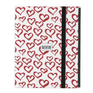 Capa iPad O coração Doodles casos feitos sob encomenda do