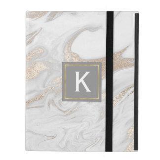Capa iPad O ouro chique e o falso branco marmoreiam a caixa