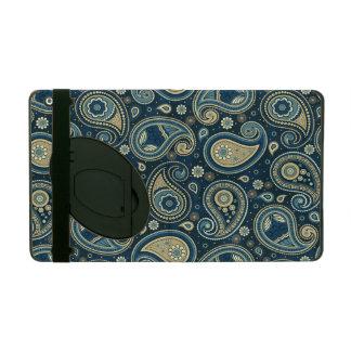 Capa iPad Ouro azul da cerceta do teste padrão de Paisley