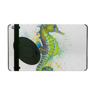 Capa iPad Respingo do cavalo marinho do verde amarelo