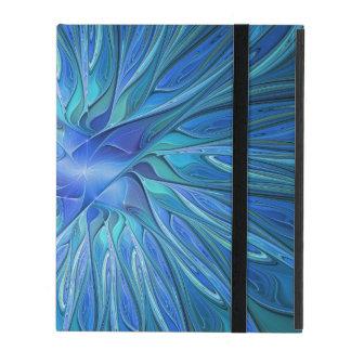 Capa iPad Teste padrão azul da fantasia da flor, arte