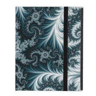Capa iPad Teste padrão ciano e branco do fractal
