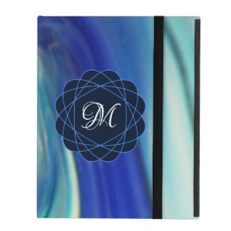 Capa iPad Teste padrão do redemoinho do azul e do branco