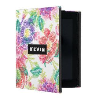 Capa iPad Teste padrão tropical colorido das flores & das