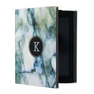 Capa iPad Textura branca & azul esverdeado do mármore do