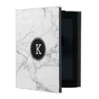 Capa iPad Textura de mármore branca & cinzenta