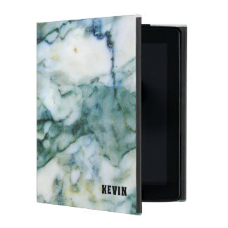 Capa iPad Textura de mármore do falso cinzento & azul