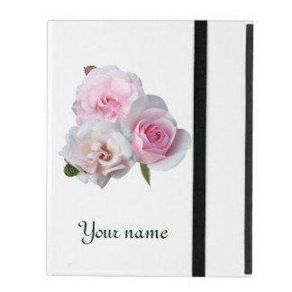 Capa iPad Três rosas cor-de-rosa. Adicione seu texto