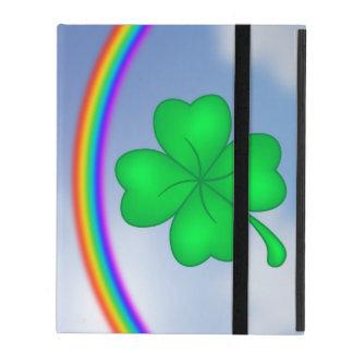 Capa iPad Trevo De Quatro Folhas com arco-íris