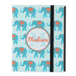 Capa iPad Turquesa da cerceta, elefantes azuis, nome das