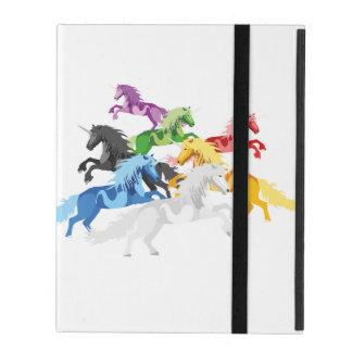 Capa iPad Unicórnios selvagens coloridos da ilustração