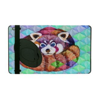 Capa iPad Urso de panda vermelha no cubism de turquesa