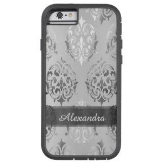 Capa iPhone 6 Tough Xtreme Damasco elegante chique personalizado das cinzas