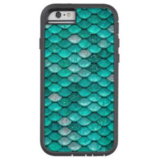Capa iPhone 6 Tough Xtreme Escalas da sereia do Aqua do verde do brilho da