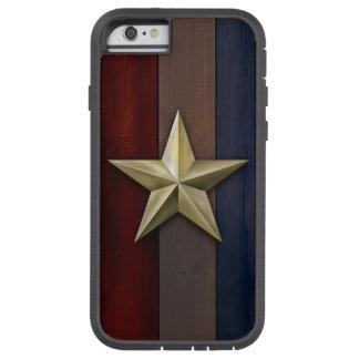 Capa iPhone 6 Tough Xtreme Estrela goldtone escovada em pranchas da madeira