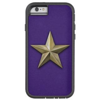 Capa iPhone 6 Tough Xtreme Estrela goldtone escovada na textura roxa