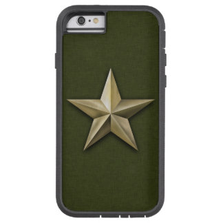 Capa iPhone 6 Tough Xtreme Estrela goldtone escovada na textura verde
