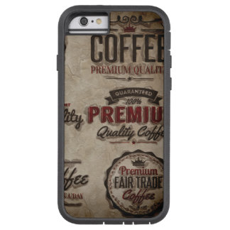 Capa iPhone 6 Tough Xtreme Etiquetas retros do café para amantes do café