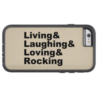 Capa iPhone 6 Tough Xtreme Living&Laughing&Loving&ROCKING (preto)
