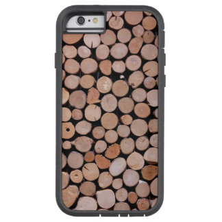 Capa iPhone 6 Tough Xtreme Pilha de madeira Brown do registro