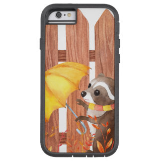 Capa iPhone 6 Tough Xtreme racoon com guarda-chuva que anda pela cerca