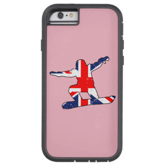 Capa iPhone 6 Tough Xtreme SNOWBOARDER de Union Jack (preto)