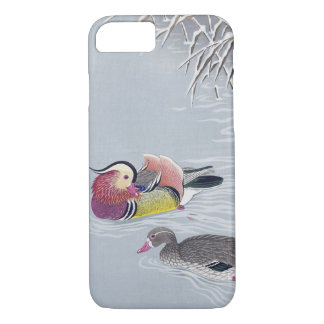 Capa iPhone 8/ 7 オシドリ, pato de mandarino do 小原古邨, Ohara Koson,